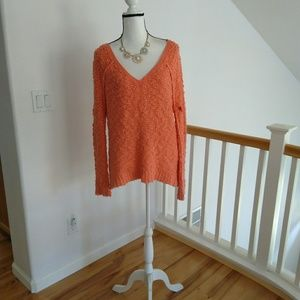 Free people coral sweater size small petite